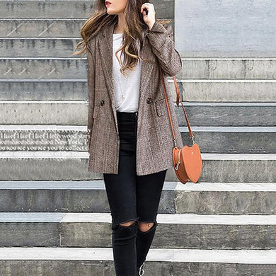 Fashion Plaid Printed Long Sleeve Blazer