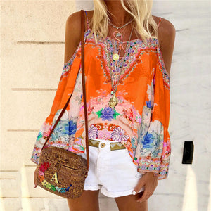 Casual Bohemian off-the-shoulder print T-shirt