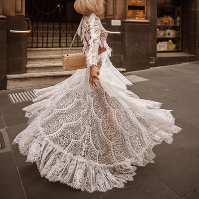 Elegant Long Sleeve Lace Event Dress