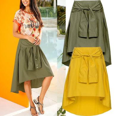 Fashion Pure Color Irregular Hem Skirt