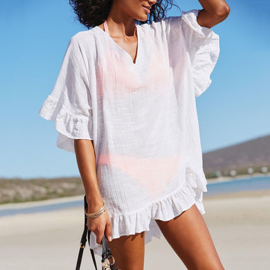 Bamboo Cotton V-Neck Pure Color Beachwear