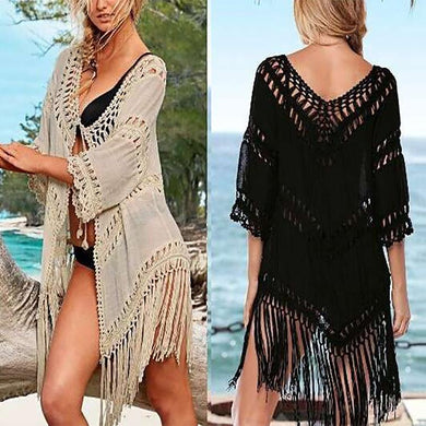 Sexy Hook Flower Hollow Pure Color Tassel Beachwear