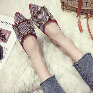 Fashion Flash Drill Flat Pointed Shoes