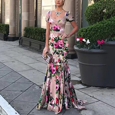 Fashion Sexy Floral Slim V-Neck Maxi Evening Dress