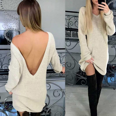 Fashion Pure Color V Neck Backless Sweater Dress