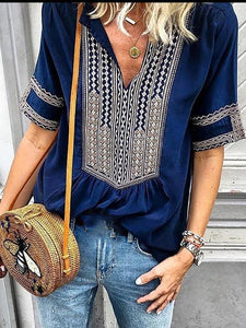 Ethnic Style Striped V-Neck Casual T-Shirt