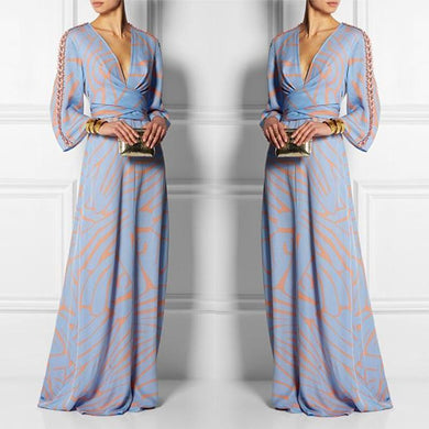 Flash Sale Sexy  V Neck Long Sleeves Maxi Dress