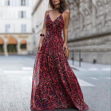 Sexy Red Sleeveless Leopard  Print Maxi Dress