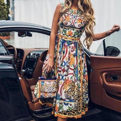 Flash Sale Round-Necked Sleeveless Vintage Print Maxi Dress