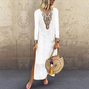 Flash Sale V Neck Long Sleeve Printed Split Casual Dress