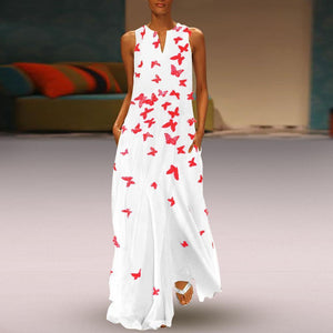 Flash Sale Chinese Butterfly Printed Maxi Shift Dress