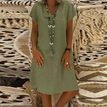 Elegant V Neck Short Sleeve Plain Casual Dress