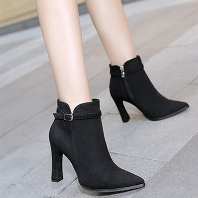 Belt Buckle High Heel Boots