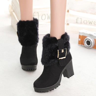 Side Zipper Plus Velvet Warm Women's Boots