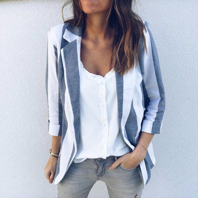 Fashion Lapel Stripes Printed Long Sleeve Blazers