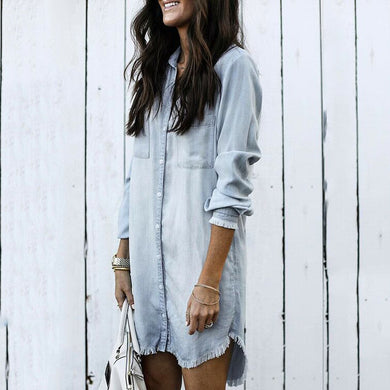 Fashion Solid Color Tassel Long-Sleeved Denim Shirt