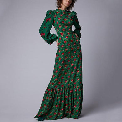 Flash Sale Retro Printed Lantern Long-Sleeved Maxi Dress