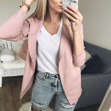Lapel Long Sleeve Plain Casual Blazers
