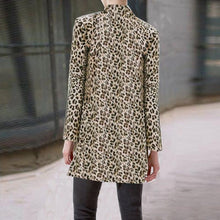 Fashion Straight Collar Long Sleeve Leopard Print Suit Outerwear
