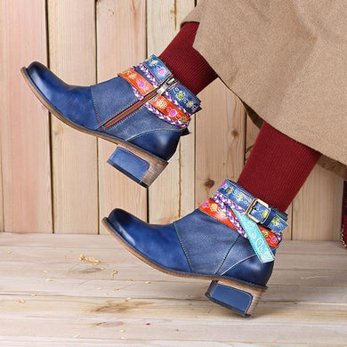 Genuine Leather Boots Floral Printed Women Shoes Ankle Booties