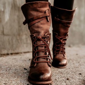 Vintage Women Lace-Up Side Zipper Faux Leather Boots