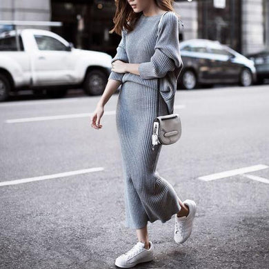 Casual Fashion Slim Plain Thermal Loose Long Sleeve Sweater Long Knitting Skirt Suit