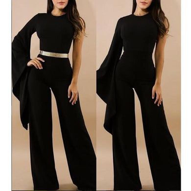 Casual Irregular Sleeve Pure Colour Jumpsuits