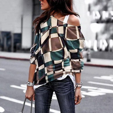 Open Shoulder Sling Fashion Daily Casual Loose Plaid Long Sleeve T-Shirts