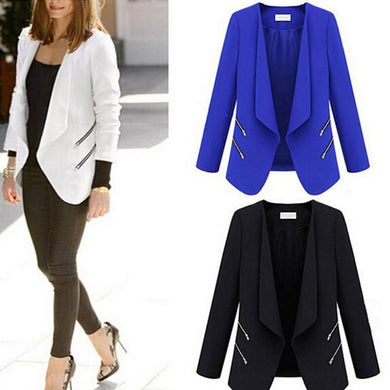 Collarless Zipper Long Sleeve Plain Fashion Blazers