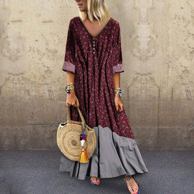 Broken Flower V Collar   Long Sleeve Casual Dress