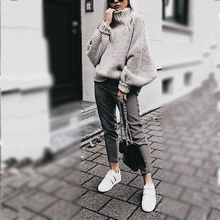 Chic Casual High Collar Long Sleeves Loosen Knitting Sweater