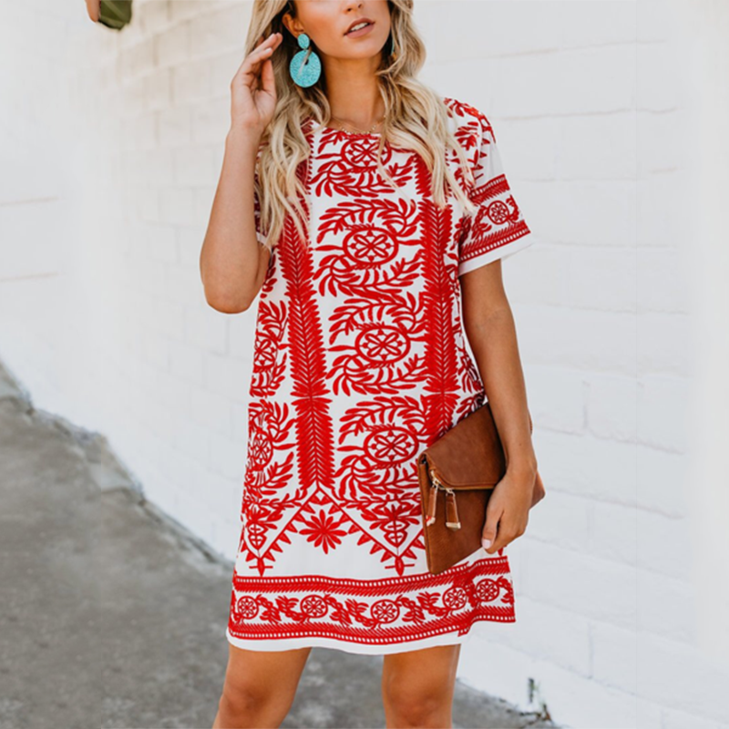 Bohemian Round Neck Short Sleeve Printed Colour Dress