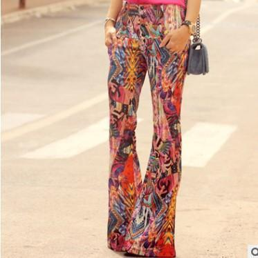 Bohemia Style Printed Loose Wide Leg  Pants