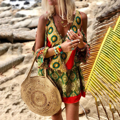 Bohemian V Neck Printed Colour Mini Dress