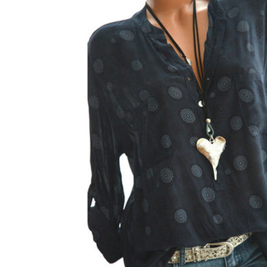 V Neck  Loose Geometric Printed Blouses