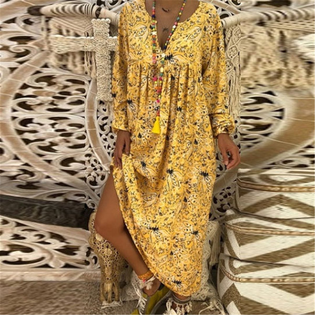 2019 V Collar Floral Printed Loose Vacation Dress