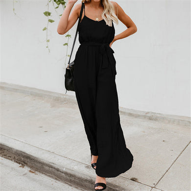 Fashion Suspender Pure Color Loose Jumpsuits