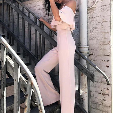 Fashion Lotus Leaf Side Suspension Jumpsuits