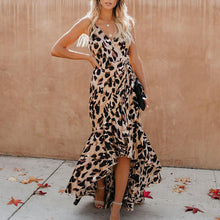Flash Sale Sexy V Neck Leopard Print Sleeveless Maxi Dresses
