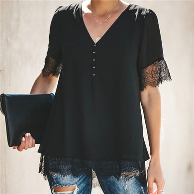 Fashion V Neck Thread Stitched T Shirt
