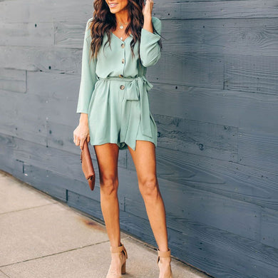 V-Neck Button Down Playsuit
