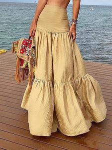 Casual Pleated Splicing Pure Colour High-Waist Skirt