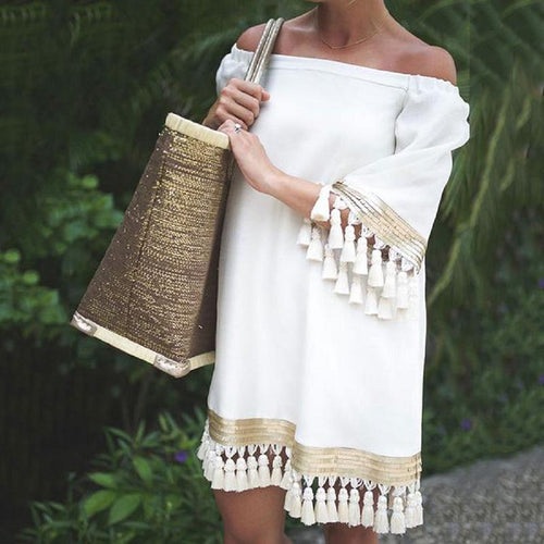 Bohemian Tassel Boat Neck Halflong Sleeve Splicing Dress