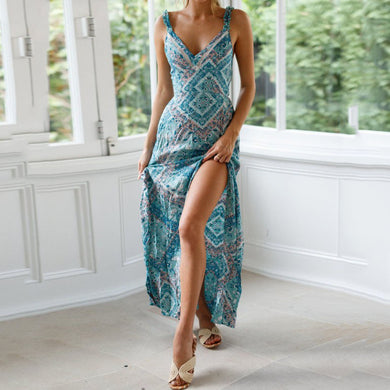 Sexy Sling Tie Knotted Waist   Print Dress