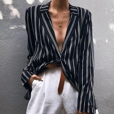 Commuting Turndown Collar Striped Long Sleeve Single-Breasted Blazer