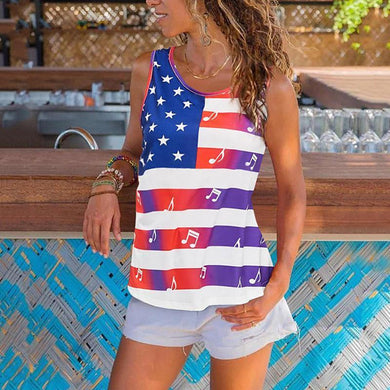 Casual Round Neck Stars And Stripes Sleeveless Bare Back Tank Top