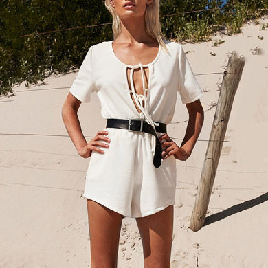 Solid Color Tether Short-Sleeved Shorts Two-Piece Suit
