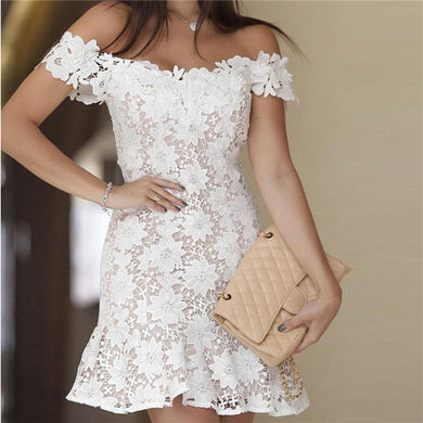 Sexy One Word Collar Lace Bodycon Dresses