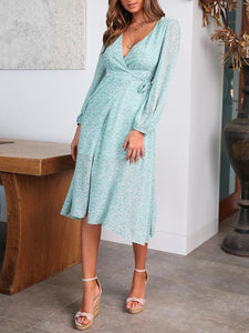 Sexy V-Neck Long Sleeve Print Dress