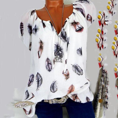 Loose Print V-Neck Short Sleeve Blouse